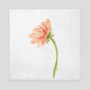 Watercolor Daisy Flower Peach and Oran Queen Duvet