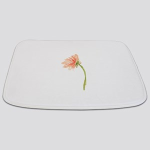 Watercolor Daisy Flower Peach and Orange Bathmat