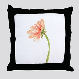 Watercolor Daisy Flower Peach and Ora Throw Pillow