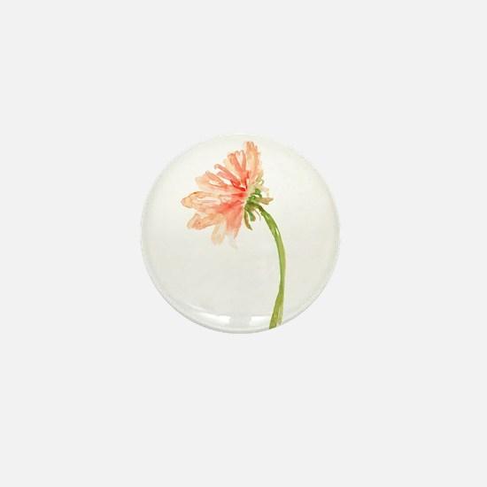 Watercolor Daisy Flower Peach and Oran Mini Button