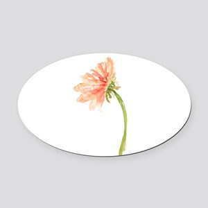 Watercolor Daisy Flower Peach and Oval Car Magnet