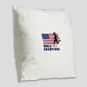 Women's Soccer Champions Burlap Throw Pillow