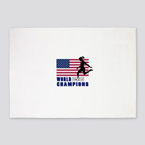 Women's Soccer Champions 5'x7'Area Rug