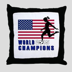 Women's Soccer Champions Throw Pillow