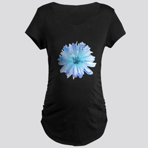 Watercolor Daisy Flower Blue Maternity T-Shirt