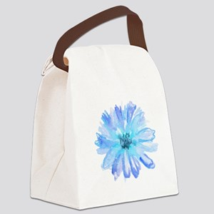 Watercolor Daisy Flower Blue Canvas Lunch Bag