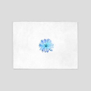 Watercolor Daisy Flower Blue 5'x7'Area Rug