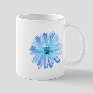 Watercolor Daisy Flower Blue Mugs