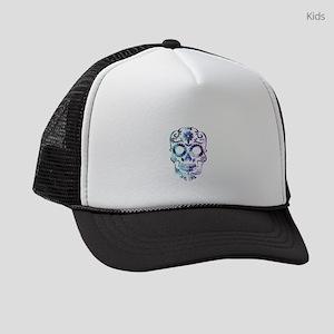Blue & Purple Sugar Skull Kids Trucker hat