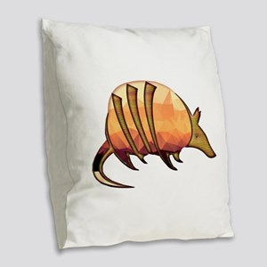 Mosaic Orange and Red Armadill Burlap Throw Pillow