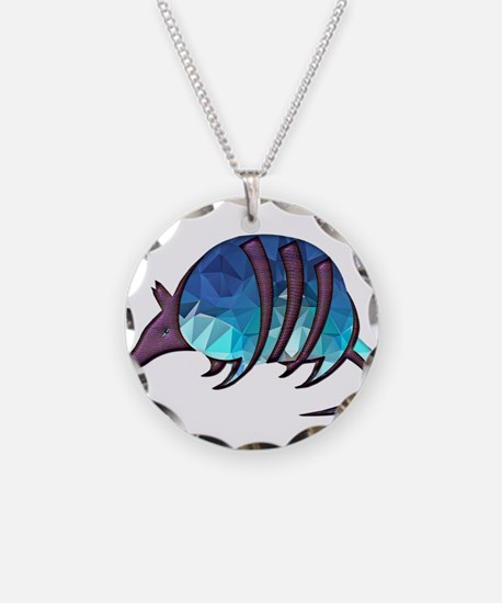 Mosaic Blue Armadillo with P Necklace Circle Charm