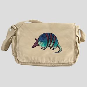 Mosaic Blue Armadillo with Purple Me Messenger Bag