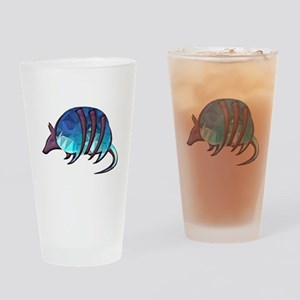 Mosaic Blue Armadillo with Purple M Drinking Glass
