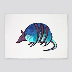 Mosaic Blue Armadillo with Purple M 5'x7'Area Rug