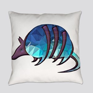 Mosaic Blue Armadillo with Purple Everyday Pillow