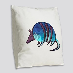 Mosaic Blue Armadillo with Pur Burlap Throw Pillow