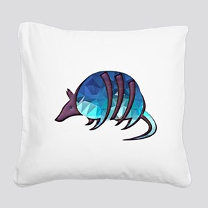Mosaic Blue Armadillo with Pu Square Canvas Pillow