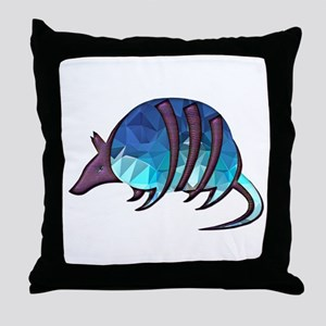 Mosaic Blue Armadillo with Purple Met Throw Pillow