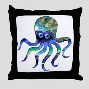 Simple Octopus in Green and Blue Mosa Throw Pillow