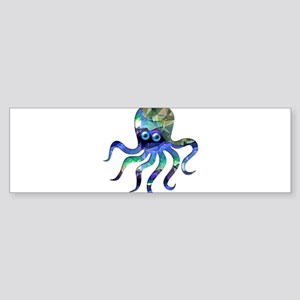 Simple Octopus in Green and Blue Mo Bumper Sticker