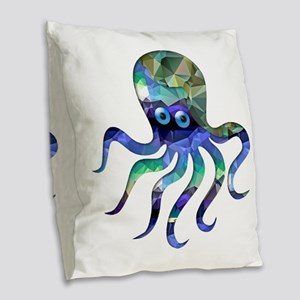 Simple Octopus in Green and Bl Burlap Throw Pillow