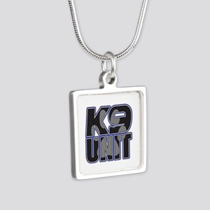 Police K9 Unit Paw Silver Square Necklace
