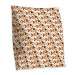 Koi Carp Pattern Burlap Throw Pillow