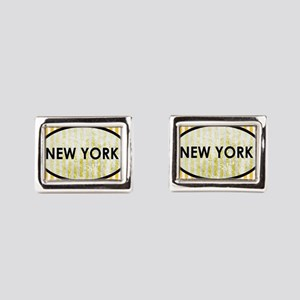 New York Stone Yellow Pin St Rectangular Cufflinks