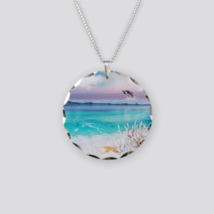 Beach and Ocean  Dancing Dol Necklace Circle Charm