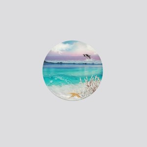 Beach and Ocean  Dancing Dolphins Mini Button