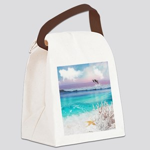 Beach and Ocean  Dancing Dolphins Canvas Lunch Bag