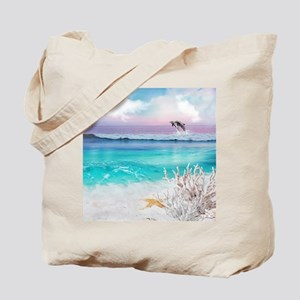 Beach and Ocean  Dancing Dolphins Tote Bag
