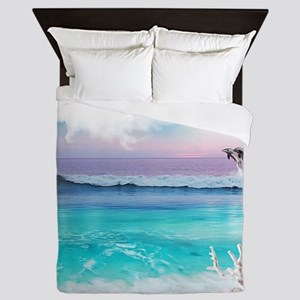 Beach and Ocean  Dancing Dolphins Queen Duvet