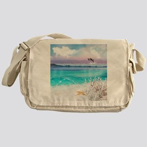 Beach and Ocean  Dancing Dolphins Messenger Bag