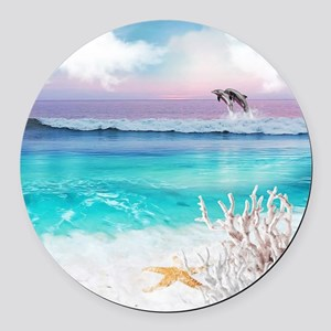 Beach and Ocean  Dancing Dolphins Round Car Magnet