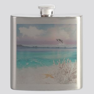 Beach and Ocean  Dancing Dolphins Flask