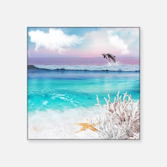 """Beach and Ocean  Dancing Do Square Sticker 3"""" x 3"""""""