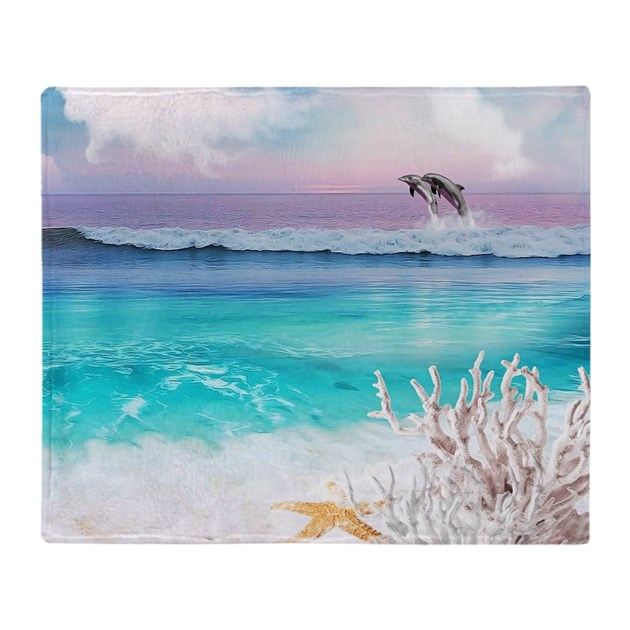 Beach Blanket Cha Cha Dance: Beach And Ocean Dancing Dolphins Throw Blanket By Listing