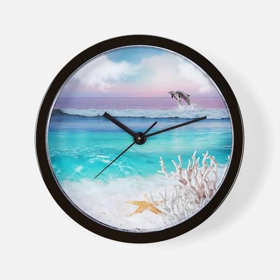 Beach and Ocean  Dancing Dolphins Wall Clock