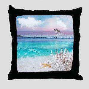 Beach and Ocean  Dancing Dolphins Throw Pillow