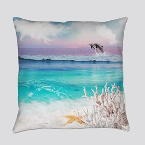 Beach and Ocean  Dancing Dolphins Everyday Pillow