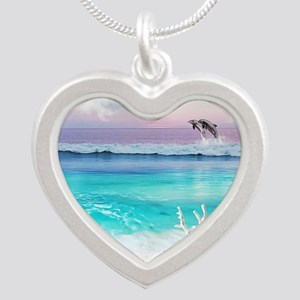 Beach and Ocean  Dancing Dol Silver Heart Necklace