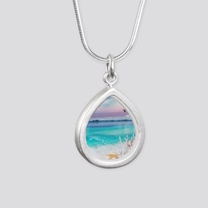 Beach and Ocean  Dancing Silver Teardrop Necklace