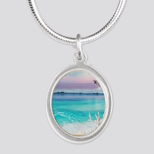 Beach and Ocean  Dancing Dolp Silver Oval Necklace