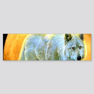 western forest moonlight wolf Bumper Sticker