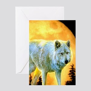 western forest moonlight wolf Greeting Cards
