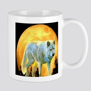 western forest moonlight wolf Mugs
