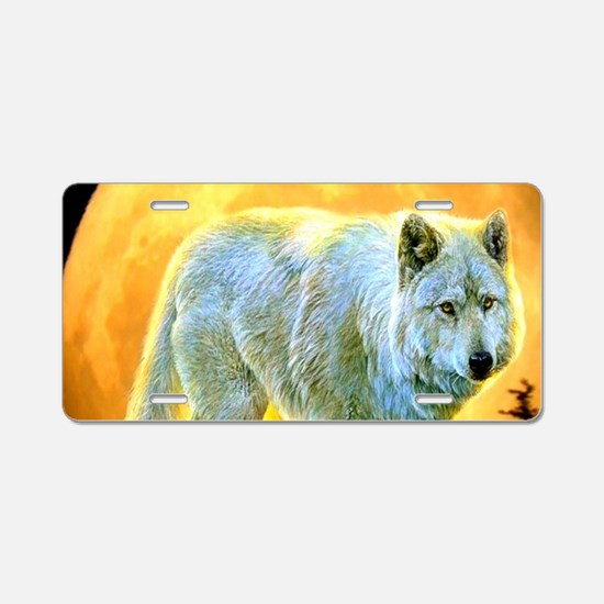 western forest moonlight wo Aluminum License Plate
