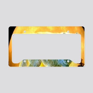 western forest moonlight wolf License Plate Holder