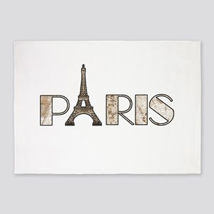 Paris with 1889 Map Overlay 5'x7'Area Rug